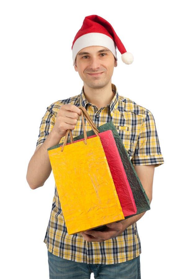 Hombre con con los regalos foto de archivo libre de regalías