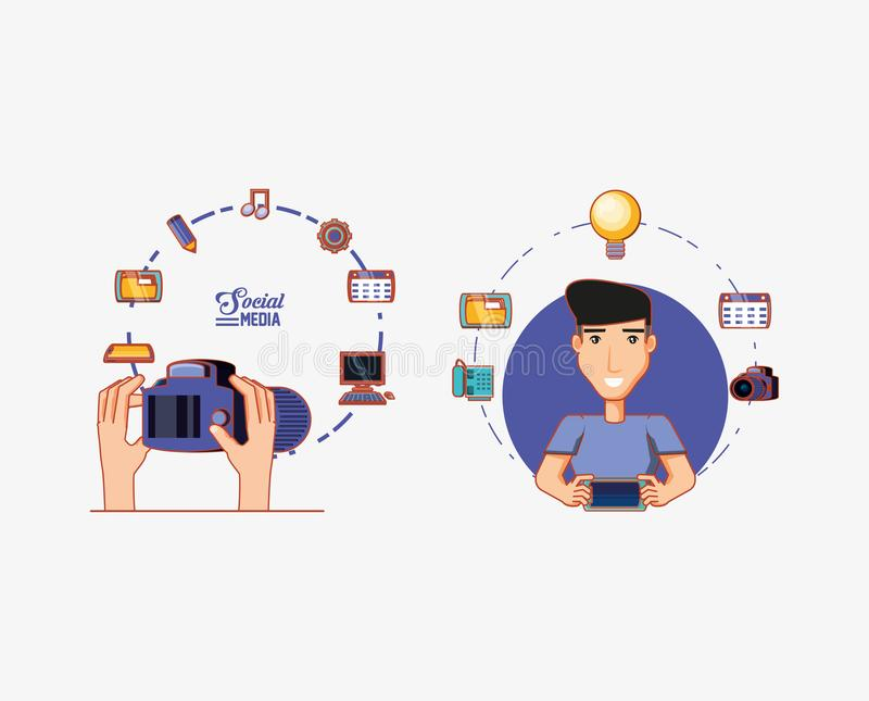 Hombre con conexión social del netwoork de la cámara de la tableta y de la mano la medios ilustración del vector