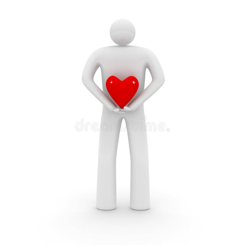 Hombre Con Dimensión De Una Variable Del Corazón. Fotos de archivo libres de regalías