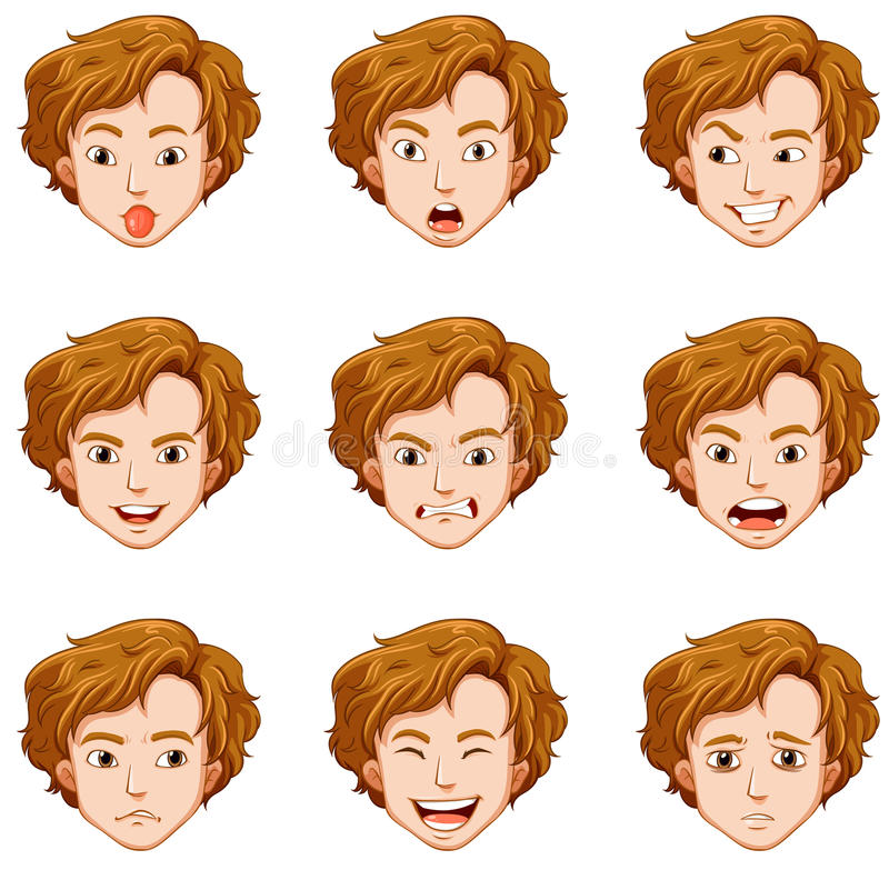 Hombre con diversas expresiones en su cara ilustración del vector