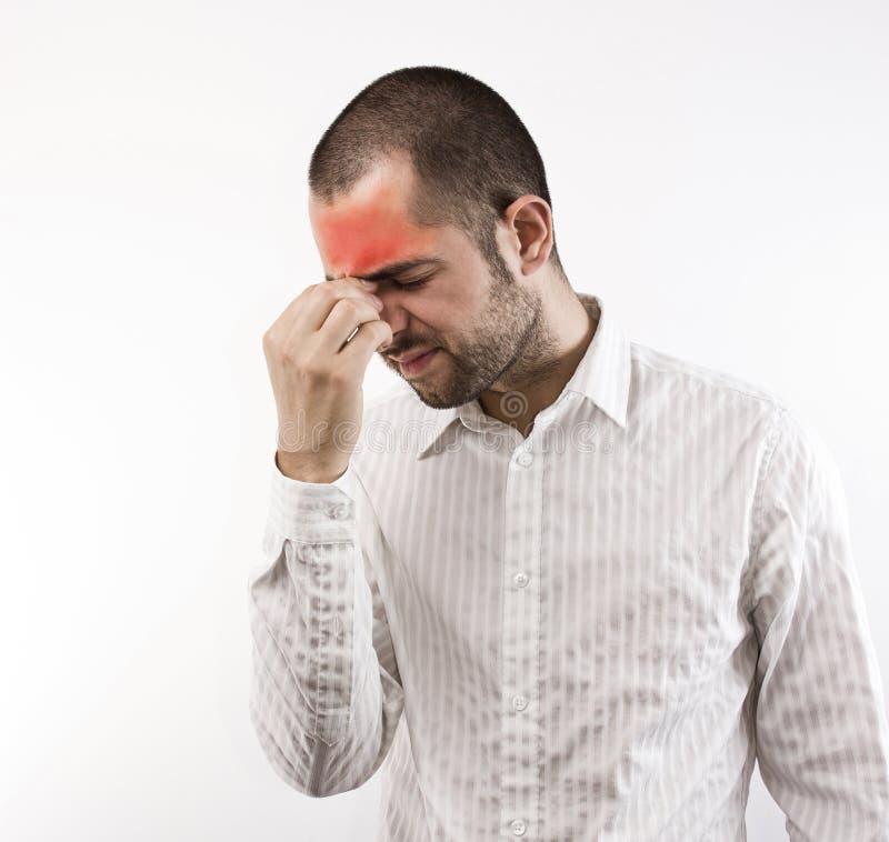Hombre con dolor de cabeza fotos de archivo libres de regalías