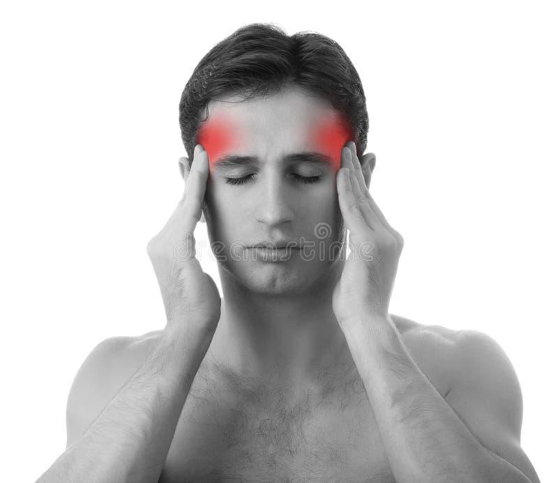 Hombre con dolor de cabeza en el fondo blanco fotos de archivo