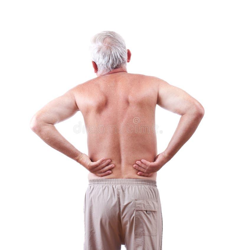 Hombre con dolor de espalda imagen de archivo