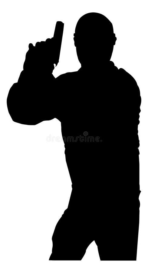 Hombre con el arma stock de ilustración
