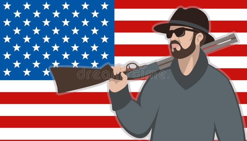 Hombre con el arma en el fondo de la bandera americana libre illustration