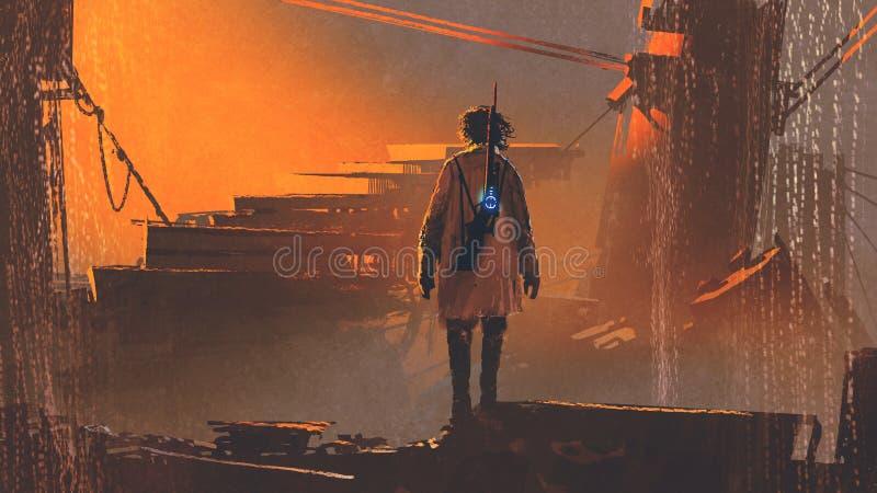 Hombre con el arma futurista que se coloca en ciudad abandonada libre illustration