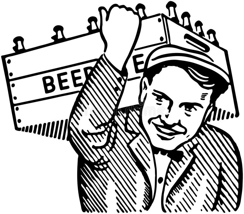 Hombre con el barrilete de cerveza stock de ilustración