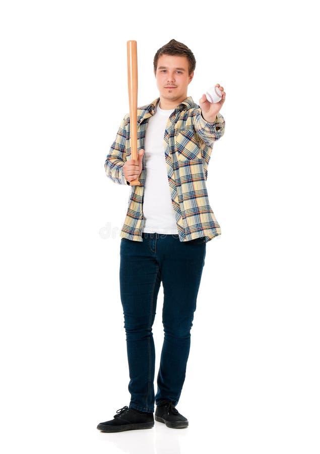 Hombre con el bate de béisbol fotos de archivo