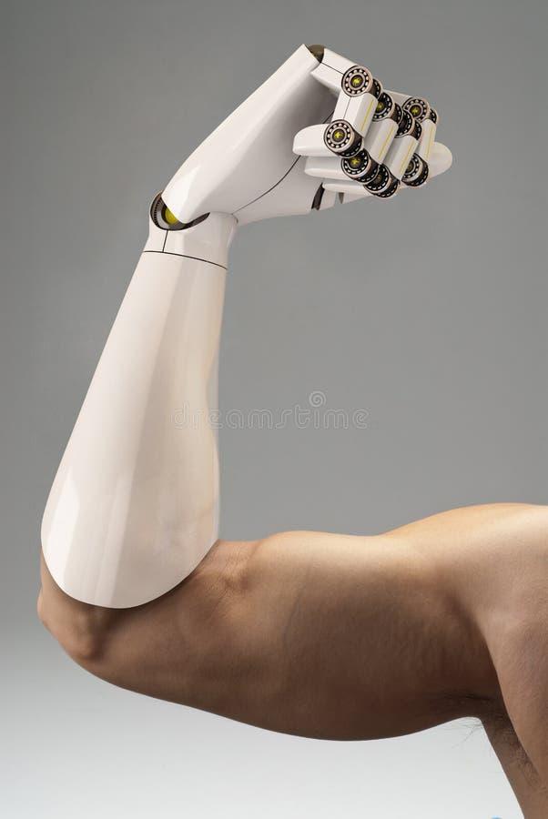 Hombre con el brazo prostético stock de ilustración