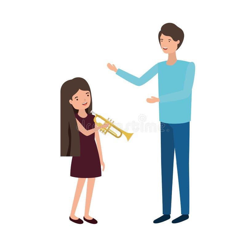 Hombre con el carácter de la hija y de la trompeta stock de ilustración