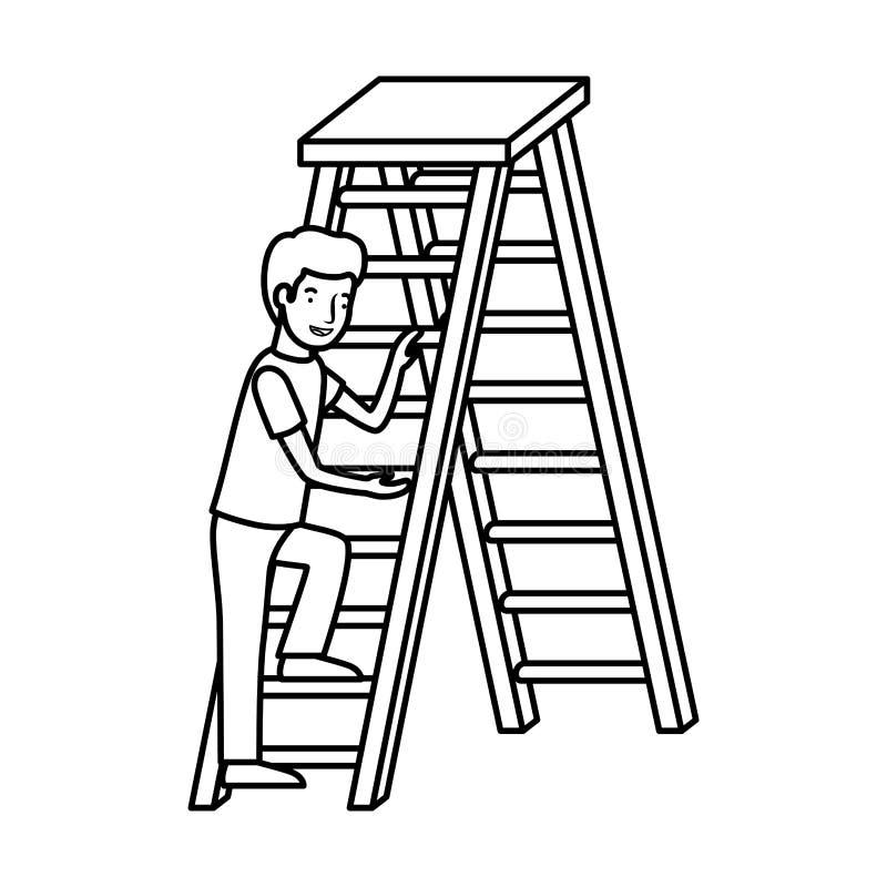 Hombre con el carácter de madera del avatar de la escalera ilustración del vector