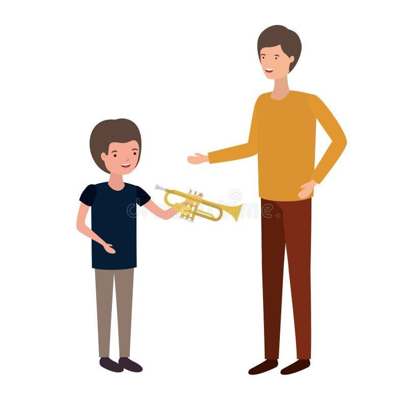 Hombre con el carácter del avatar del hijo y de la trompeta ilustración del vector