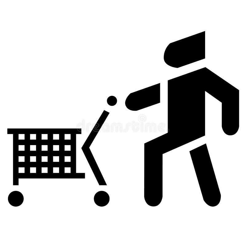 Hombre con el carro Comprador del icono con el baske del consumidor stock de ilustración