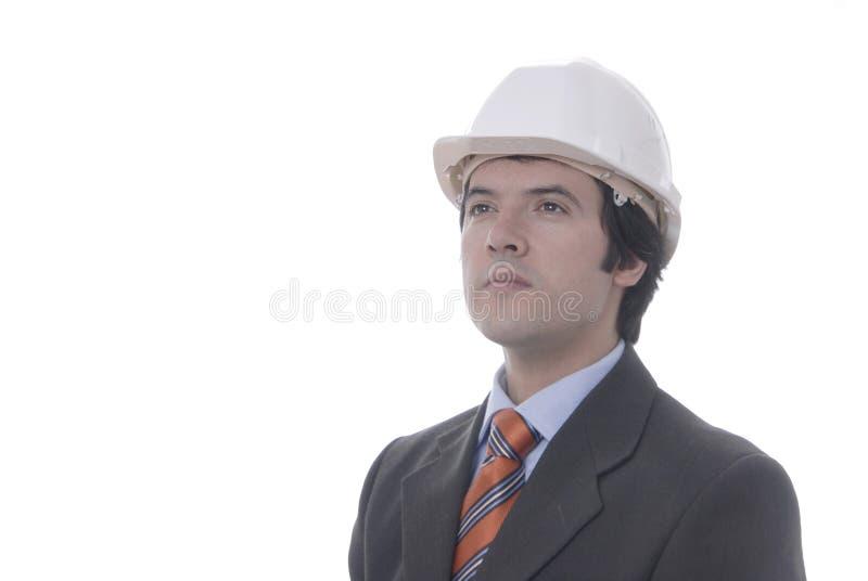 Hombre con el casco del trabajo en fotografía de archivo libre de regalías