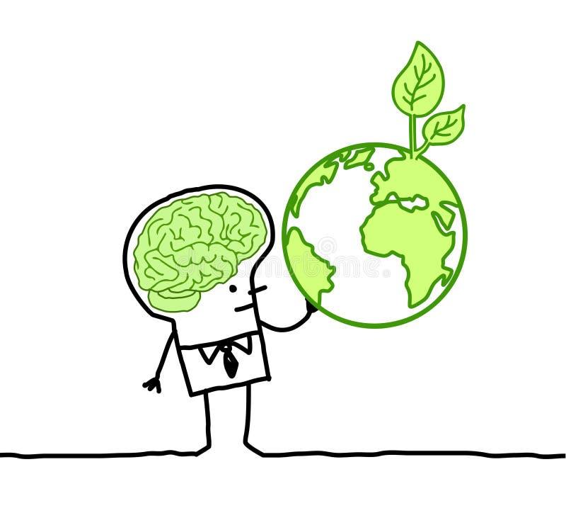 Hombre con el cerebro verde y la tierra verde stock de ilustración