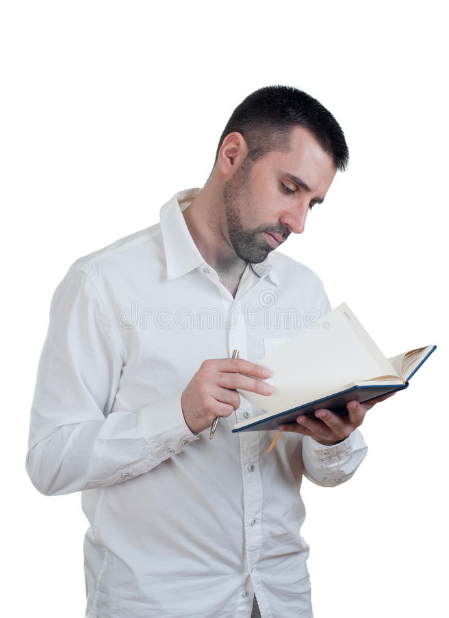 Hombre con el cuaderno imagen de archivo libre de regalías