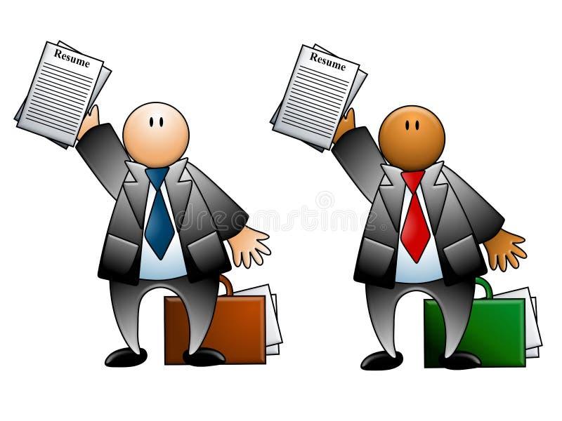 Hombre con el curriculum vitae y la cartera stock de ilustración