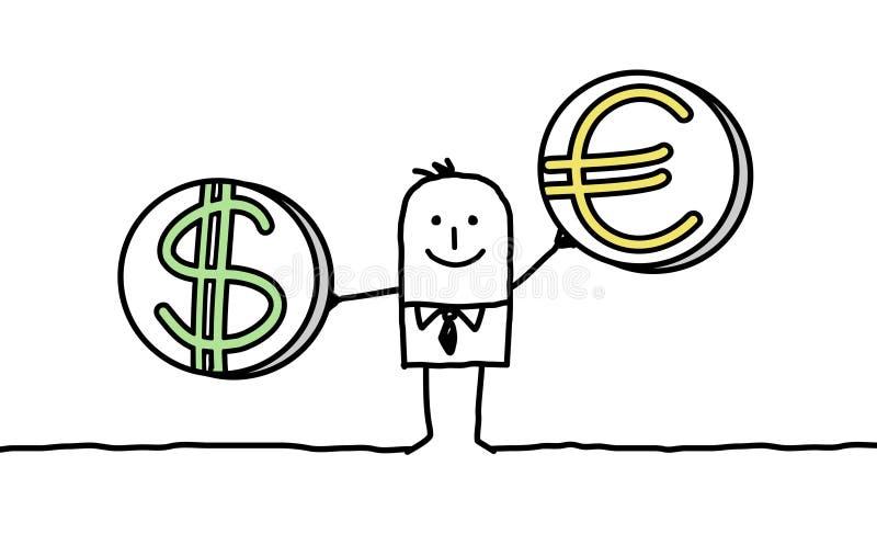 Hombre con el dólar y el euro libre illustration