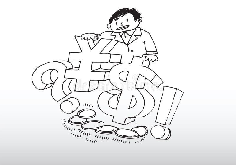 Hombre con el dinero en circulación   libre illustration