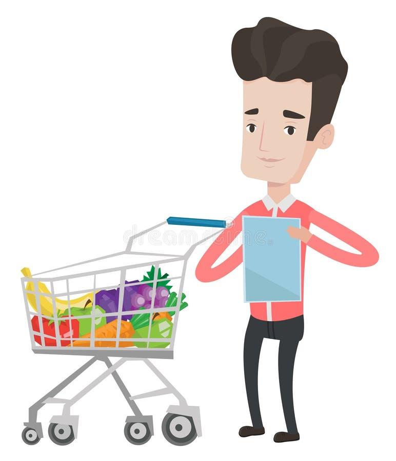 Hombre con el ejemplo del vector de la lista de compras libre illustration