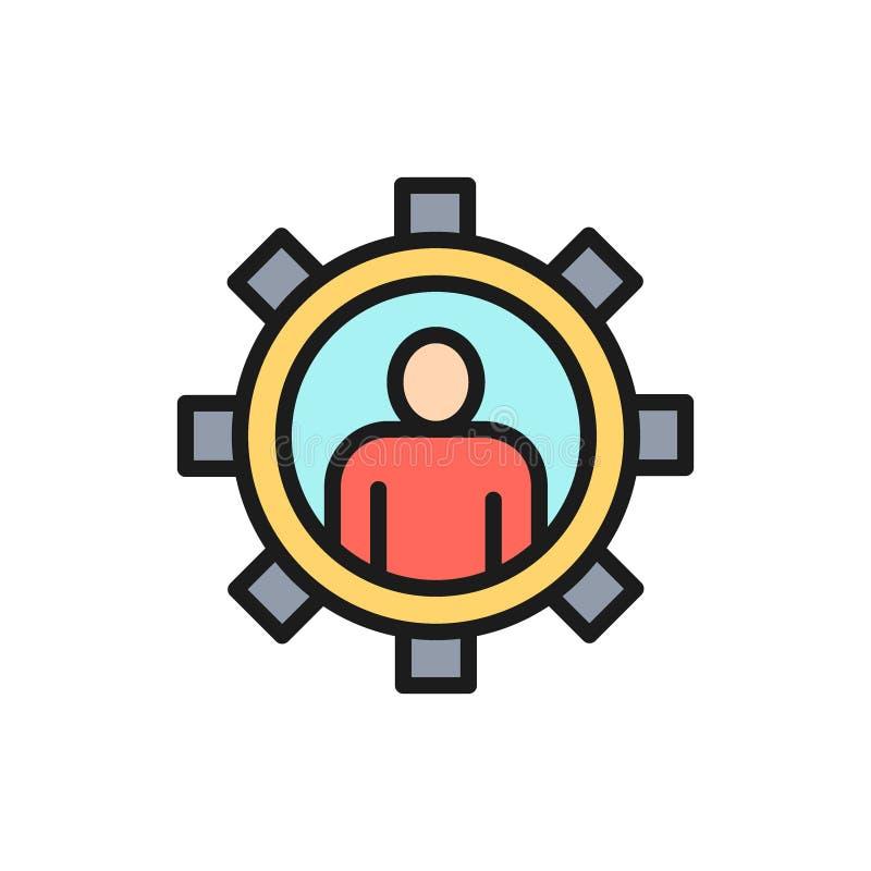 Hombre con el engranaje, ingeniero, línea de color plana del trabajador de la tecnología icono del vector stock de ilustración