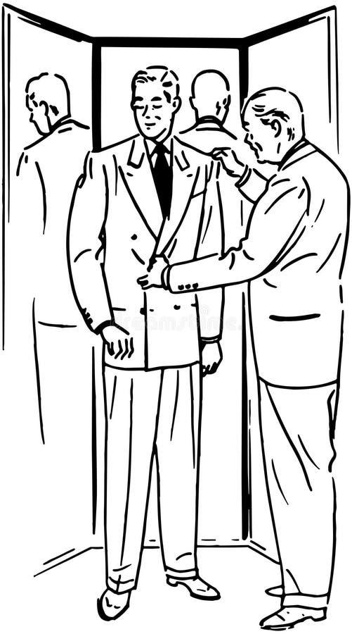 Hombre con el espejo de tres vías stock de ilustración