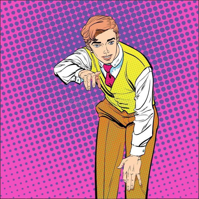 Hombre con el finger que señala o que gesticula Hombre que intenta explicar algo Hombre que prueba hechos Hombre que explica algo ilustración del vector