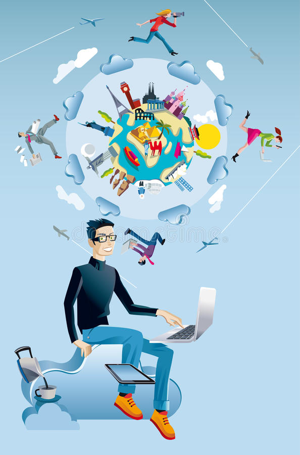 Hombre con el globo del ordenador y del mundo ilustración del vector