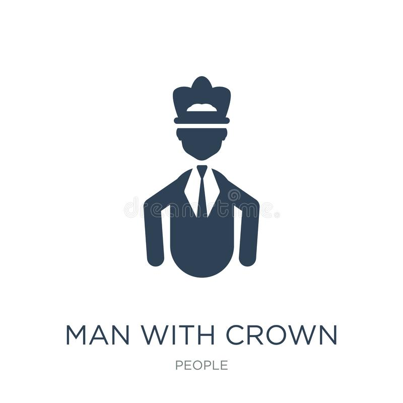 hombre con el icono de la corona en estilo de moda del diseño hombre con el icono de la corona aislado en el fondo blanco hombre  libre illustration