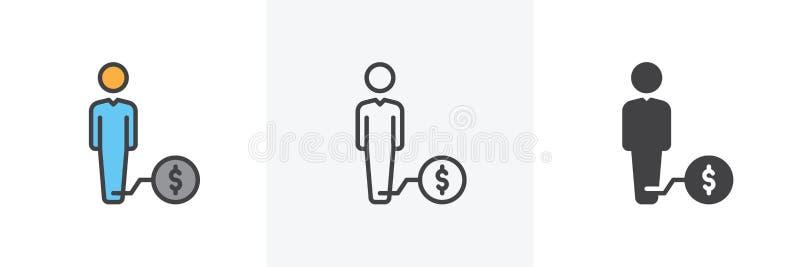 Hombre con el icono de la deuda del peso libre illustration