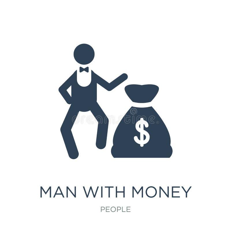 hombre con el icono del dinero en estilo de moda del diseño hombre con el icono del dinero aislado en el fondo blanco hombre con  stock de ilustración