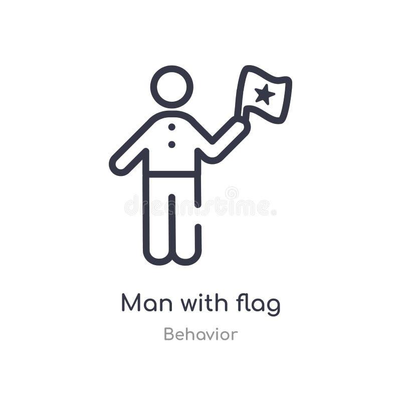 hombre con el icono del esquema de la bandera l?nea aislada ejemplo del vector de la colecci?n del comportamiento hombre fino edi libre illustration