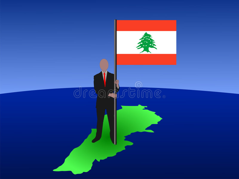 Hombre con el indicador libanés ilustración del vector