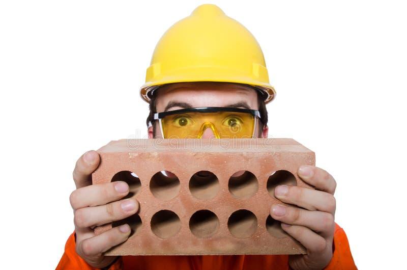 Download Hombre Con El Ladrillo Aislado Imagen de archivo - Imagen de concepto, humor: 41913797