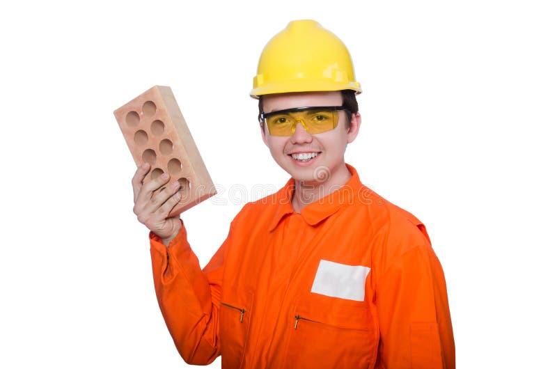 Download Hombre Con El Ladrillo Aislado Imagen de archivo - Imagen de cemento, desafío: 41913803