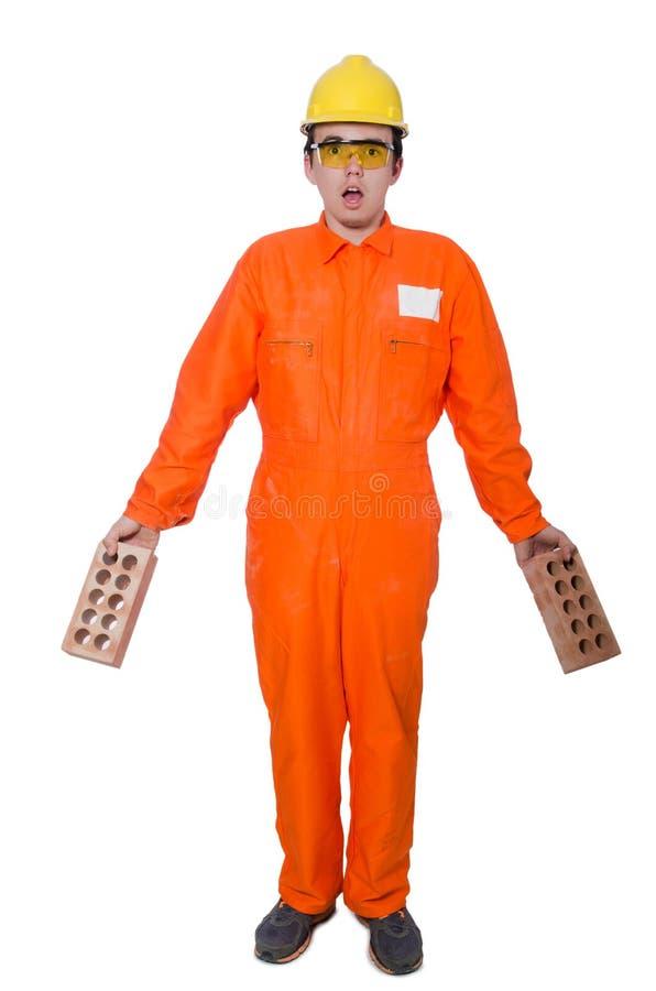 Download Hombre Con El Ladrillo Aislado Imagen de archivo - Imagen de humor, holding: 41913827