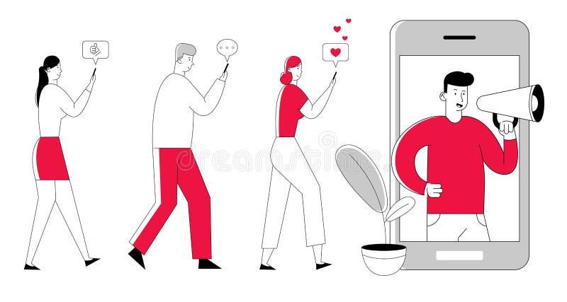 Hombre con el megáfono en la pantalla y la gente joven con los teléfonos móviles cerca Medios sociales del márketing de Influence ilustración del vector