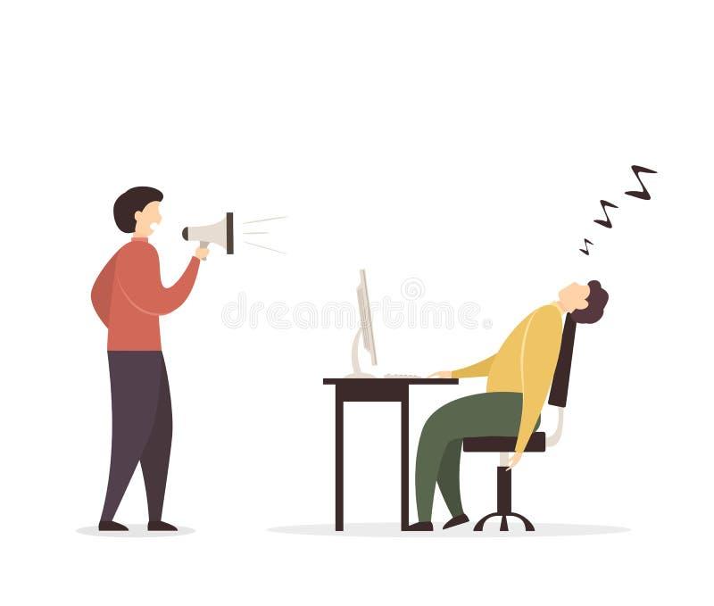 Hombre con el megáfono y el hombre durmiente stock de ilustración