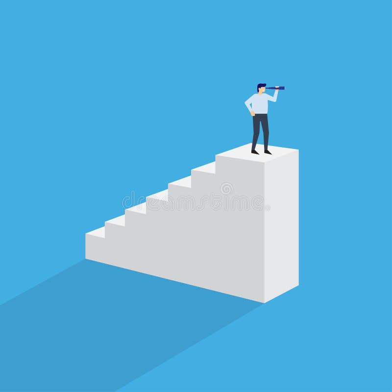Hombre con el monóculo encima de las escaleras ilustración del vector