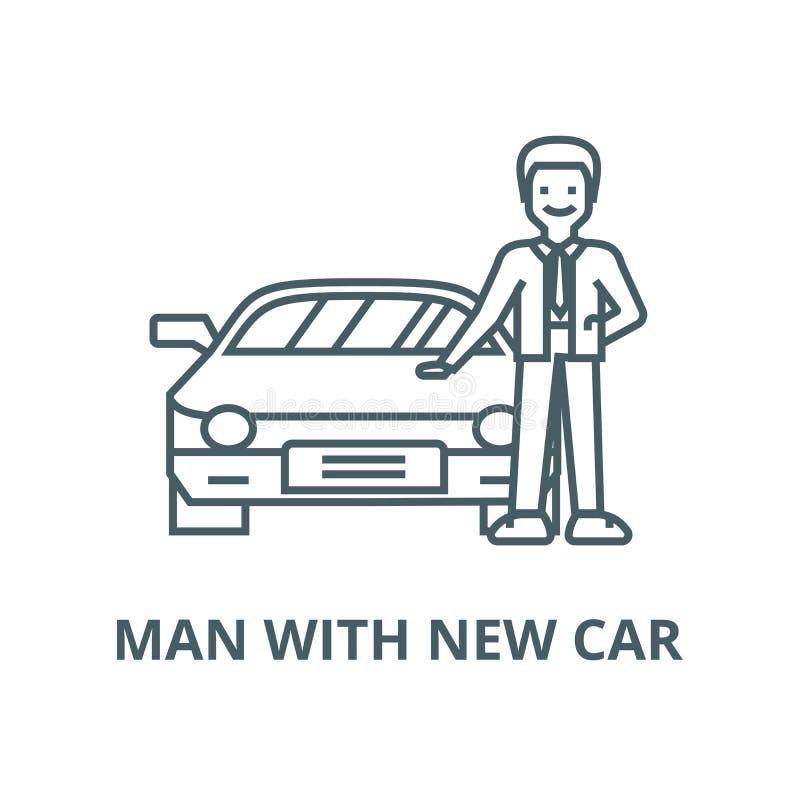 Hombre con el nuevo coche, línea auto icono, concepto linear, muestra del esquema, símbolo del vector stock de ilustración