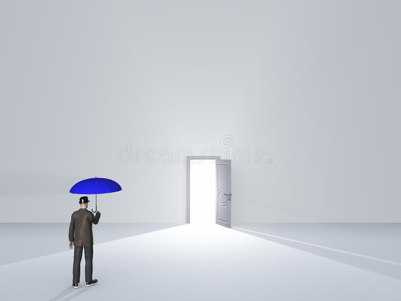 Hombre con el paraguas en sitio blanco puro stock de ilustración