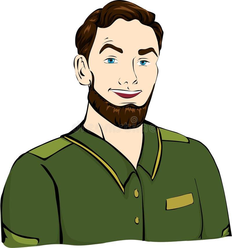 Hombre con el peinado en camiseta stock de ilustración
