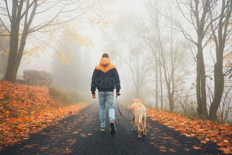 Hombre con el perro en naturaleza del otoño foto de archivo