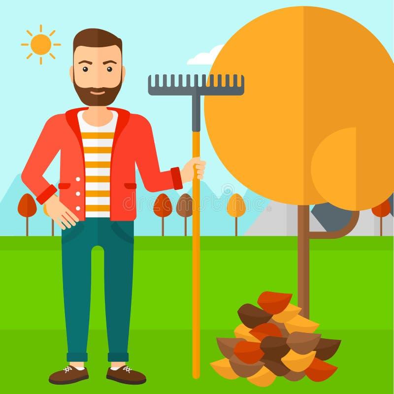 Hombre con el rastrillo que coloca el árbol y el montón cercanos de las hojas de otoño libre illustration