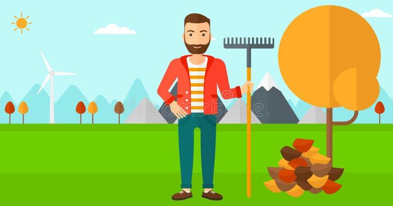 Hombre con el rastrillo que coloca el árbol y el montón cercanos de las hojas de otoño stock de ilustración