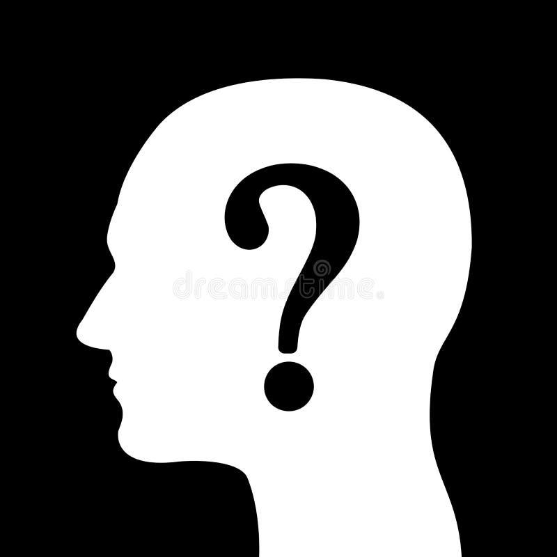 Hombre con el signo de interrogación sobre la silueta de la cabeza ilustración del vector