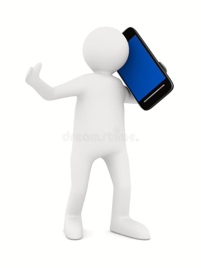 Hombre con el teléfono en blanco. 3D aislado stock de ilustración