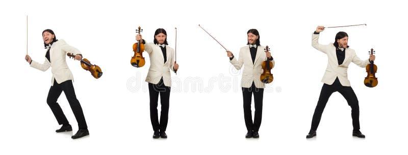 Hombre con el viol?n que juega en blanco imagenes de archivo