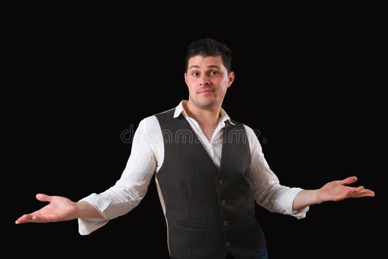 Hombre con gesto de la duda fotografía de archivo libre de regalías