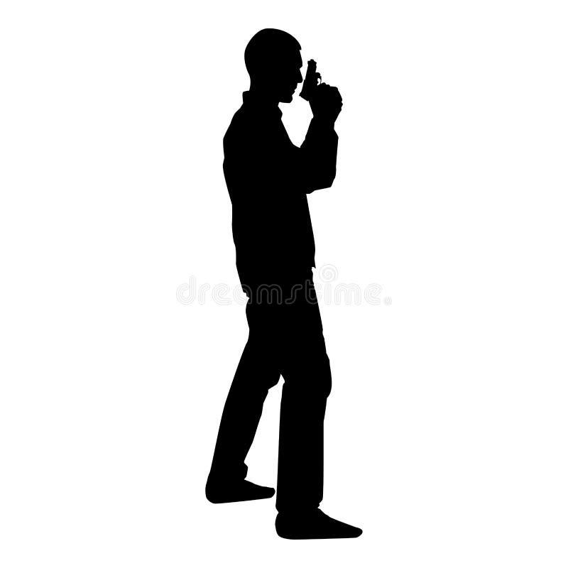 Hombre con imagen plana del estilo del ejemplo del vector del color del negro del icono del concepto del peligro del arma ilustración del vector